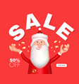christmas sale design with 3d santa claus vector image