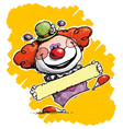 Clown Holding a Label vector image vector image