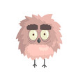 cute little funny fluffy owlet bird standing vector image vector image