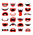 cute monsters mouth set vector image vector image