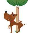 dog urinating on tree vector image