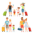 family goes at summer vacations happy family vector image vector image
