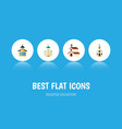 flat icon christian set of building catholic vector image vector image
