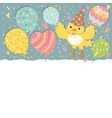 Happy Birthday background with balloons and bird vector image vector image