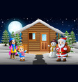 happy kids and santa clouse in front of the snowin vector image