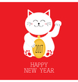 Happy New Year Lucky white cat sitting and holding vector image vector image