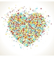 Heart shape with dots inside confetti background vector image
