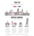 italy travel infographics in linear style vector image vector image