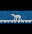 knitted winter blue background with polar bear vector image