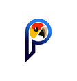 letter p parrot logo icon vector image vector image