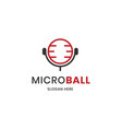microphone and basket ball concept logo vector image