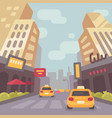 modern city street with taxi cars and skyscrapers vector image