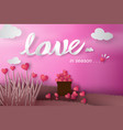 paper art of happy valentine day with tree heart vector image vector image