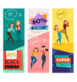 people and emotions banners set vector image vector image