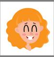 Pretty blonde hair woman laughing facial vector image
