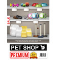 realistic pet shop poster vector image vector image