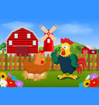 red farm with two cocks and windmill vector image