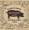 retro poster for butcher shop hand drawn vector image vector image