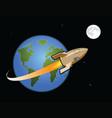 rocket to moon vector image vector image