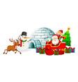 santa on sleigh and snowman igloo vector image vector image