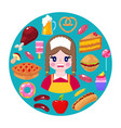 seller and fast food vector image vector image