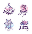 set of yoga studio and meditation class logo vector image