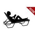 silhouette of woman read book on chaise longue vector image vector image