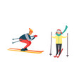 skiing winter activities sport and hob vector image