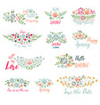 Spring typographic flower badge design
