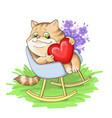 striped kittenin love on an vector image vector image