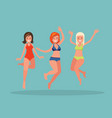 three girls jumping on a blue background vector image