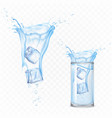 water splash with ice cubes and glass set motion vector image vector image