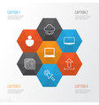 Web icons set collection of send data virtual vector image