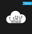 white internet things icon isolated on black vector image