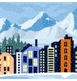 Winter cityscape Multi-colored home in the vector image vector image