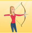young caucasian archer training with a bow vector image vector image