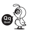 Q Quail cartoon and alphabet for children to vector image