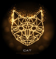abstract polygonal tirangle animal cat neon sign vector image
