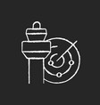 air traffic control chalk white icon on black vector image
