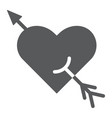 arrow and heart glyph icon romance and love vector image vector image