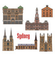 australia sydney architecture facades icons vector image