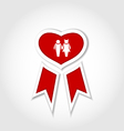 Award ribbon with human icons for Valentines day vector image vector image