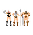 barbarian woman set lady viking strong female vector image vector image