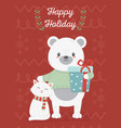 bear and cat celebration happy christmas card vector image