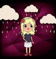 beautiful girl in the rain kawaii character vector image