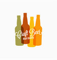 beer bottle logo beer color banner on white vector image