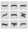 black ribbon icons set vector image vector image