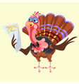 cartoon thanksgiving turkey character holding menu vector image vector image
