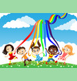 children and a rainbow vector image
