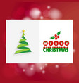 chrismtas card with tree and red background vector image vector image